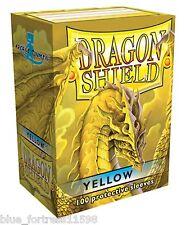 DRAGON SHIELD CARD BOX + 100 YELLOW PROTECTIVE CARD SLEEVES FOR POKEMON MTG WoW
