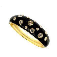 Debenhams Chapado en Oro Esmalte Negro Pulsera Articulada Al Cristales Swarovski