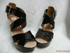 NEW Call It Spring Wedge Platform Sandals 7M Black & Taupe Patent