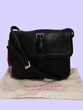ISAAC MIZRAHI LUCILLE Black Leather Cross-Body Bag Msrp $148.00