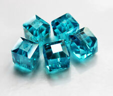 Faceted Aqua Green Square Cube Cut Glass Crystal Loose Spacer Beads 10mm 10Pcs