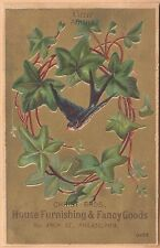 Victorian Trade Card-Christ Bros House Furnishings-Philadelphia, PA-Bird in Ivy