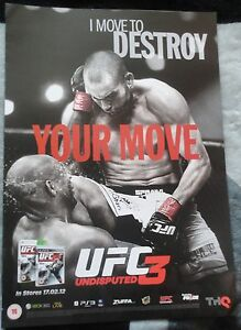 UFC 3 UNDISPUTED VIDEOGAME DOUBLE-SIDED PROMO POSTER brand new!