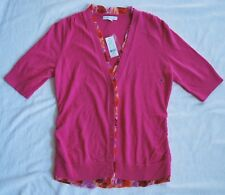 "NWT - New York & Company pink button down ""floral trim"" cardigan sweater (S)"