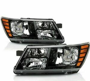 For Dodge Journey 2009-2018 Black Housing Trim Headlights Headlamps set pair