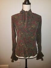 NEW Ralph LAUREN Collection Purple Label Silk Bow Paisley Ruffle Top Shirt S 4