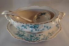 Keeling & Co Late Mayers Flora Gilded Blue Scalloped Tureen Serving Dish & Ladle