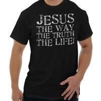 Jesus Way Truth Life John Christian Religious Short Sleeve T-Shirt Tees Tshirts