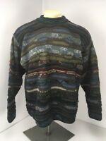 VTG 80s Cuggi Coogi Sweater Sz L Blue Brown Natural Tones Cosby Style Hip Hop