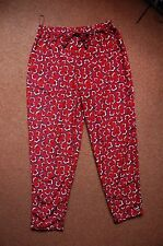 New Sz 12 Burnt Red Floral Statement Trousers Nightwear Outerwear Trend