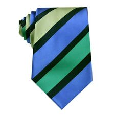 Royal Blue Green Striped 3.4'' Silk Jacquard Classic Woven Man Tie Necktie FS102