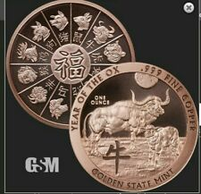 2020 Year Of The Ox 1 Oz. Copper Rounds .999 AVDP