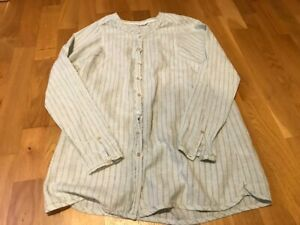 Poetry Women's striped  Casual Long-sleeved Shirt Size10. Hemp and cotton. VGC