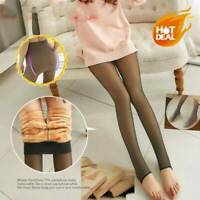 Impeccable Legs Fake Translucent Warm Fleece Lined Pantyhose Tight Slim Stock UK