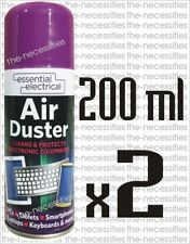 2 X AIR DUSTER AEROSOL SPRAY CAN CLEANS PROTECTS LAPTOPS KEYBOARDS 200ML