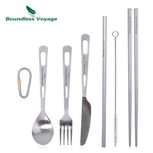Camping Titanium Cutlery Mess Kit Spoon Knife Fork Spork Chopsticks Tableware