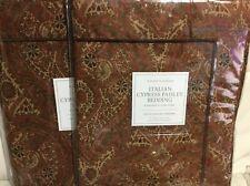 Restoration Hardware 2 Italian Cypress Paisley Std Shams Garnet Red Sateen NWT!
