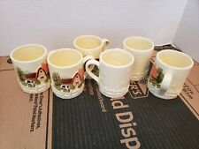 Vintage Lot of 6 Maruri Farm Scene Cottage Tea Coffee Cups Hand Painted Japan