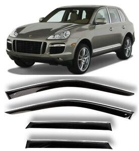Chrome Trim Side Window Visors Guard Vent Deflectors Porsche Cayenne I 2007-2010
