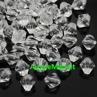 50 x faceted bicone clear beads acrylic plastic 8mm loose spacer jewellery craft