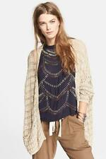 $108 nwt FREE PEOPLE sz S LAST NIGHT STRIPE cardigan baggy sweater in TAN