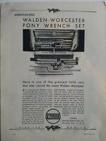 1926 Walden Worcester Pony set No. 4000 vintage tool box ad