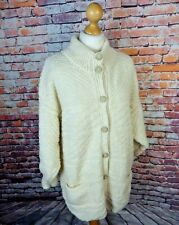 Vintage cable aran hand knit cream wool 14 cardigan pockets