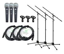 3x PROFESSIONAL DJ PA MICROPHONE VOCAL SPEECH LIVE XLR CONNECTOR CABLE CLAMP SET