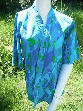 Vintage 1970's Gabrielle Farrell cotton rooster print batik kimono blouse small