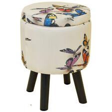 mariposa - Contemporáneo Retro Cuadrado ACOLCHADO almacenaje taburete - Multi
