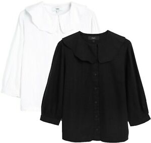 NEXT Womens Collared Linen Viscose Blouse Shirt Top Black White Comfort 6 - 26