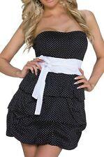 SeXy Damen Rockabilly Bandeau Mini Kleid Schleife Dots 34/36/38 schwarz weiß