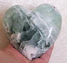 """HUGE Natural Fluorite Crystal Carving Gem Heart 95mm 3 3/4"""" 1 lb. 1.3 oz 490gr."""