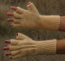 MOHAIR hand knit COLOR BANANA mittens fingerless gloves Soft handwarmers unisex