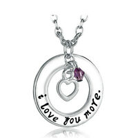 *UK* 925 SILVER PLT 'I LOVE YOU MORE' ENGRAVED HEART NECKLACE WIFE GIRLFRIEND 18