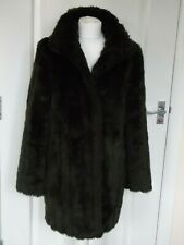 MARKS AND SPENCER LADIES BROWN FAUX FUR COAT SIZE 8 VERY COSY