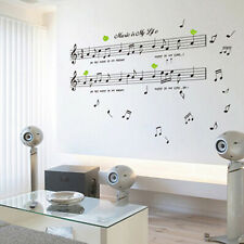 Black Music Note Removable Decal Home Room Decor Art Wall Sticker Wallpaper bv