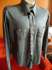 LARGE True Vtg 70s mens MENS GREEN ACETATE SHINY COLLAR DISCO CLUB LS SHIRT