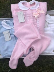 Spanish Knitted Romper Baby Girls Boys Jumper Pram Newborn Pink Blue 0-3 Mths