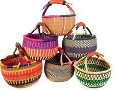 "SMALL African Basket | Bolga Ghana| Storage |Market Basket |9""-11''(COLORS VARY)"