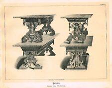 Art Furniture c1880   TABLES, GERMAN WORK - XVI CENT  Antique Duotone Lithograph