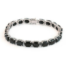 De Buman Sterling Silver Oval Natural Sapphire Ladies Tennis Bracelet, 7.5''