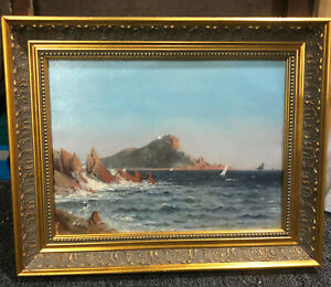 ANTIQUE PAINTING SIGNED 19TH CENTURY IMPRESSIONISM OCEAN SEASCAPE oil on panel