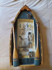 "Fly Fishing Shadow Box Shaped Like a Boat 25""x12""x2.5 4; Includes Many Items"