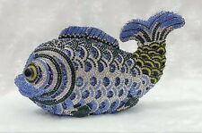 Blue~Yellow Fish~ Handmade Austrian Crystal 3D Shaped Purse Cocktail Evening Bag