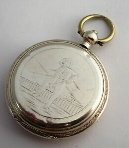 Antique Late 1800s  Silver Pocket Watch with Engraved Rural Scene Mining Farming