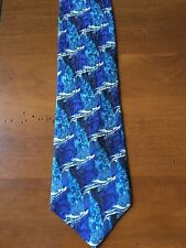 Cocktail Collection Mens Neck Tie Blue Black Silver Ocean 100% Silk Made in USA