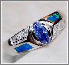 Blu Zaffiro & Opale Australiano intarsio TOPAZIO 925 Solido Argento Finissimo RING SZ 8