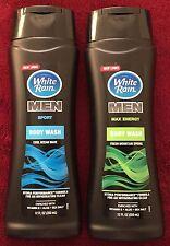 Lot of 2 White Rain for Men Body Wash: Cool Ocean Wave ~ Fresh Mountain Spring