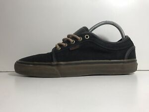 VANS AUTHENTIC SKATER BLACK LEATHER SUEDE TRAINERS KAHKI SOLE SIZE 8.5 UK